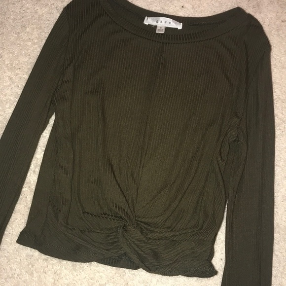 13863c92861 gaze Tops | Olive Twist Crop Top | Poshmark